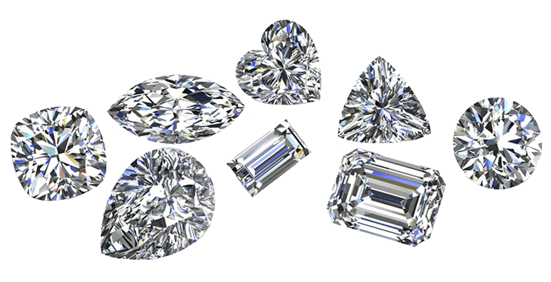 A group of big beautiful diamonds with diffrent cuts and sizes