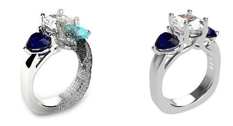 Side by side of a CAD design of a ring