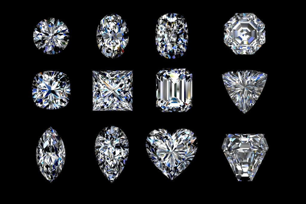 diamonds set rendering on a black background