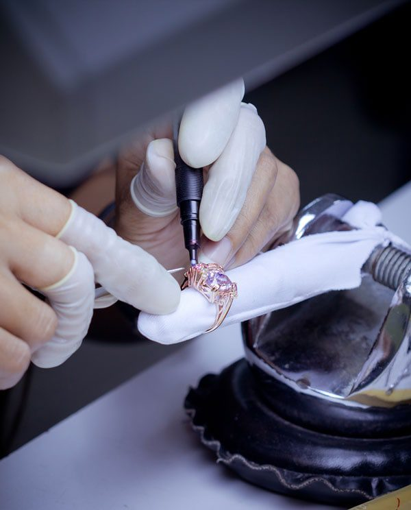 diamond ring being worked on