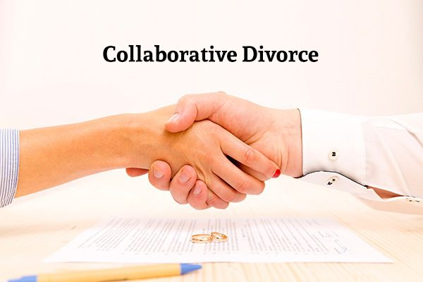 "Two hands shaking over a table with a document, two wedding rings, and a pen under the words ""Collaborative Divorce"""