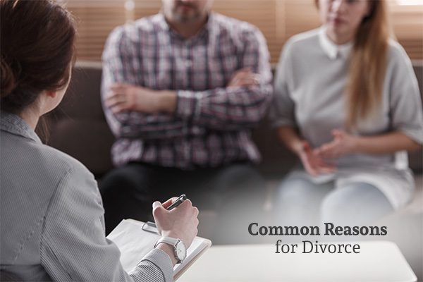 A couple talking to a lawyer or a counselor with the words, common reasons for divorce.