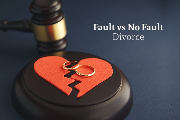 A broken heart resting on a gavel stand with two wedding rings on it, beside a gavel, under the words fault vs no fault divorce