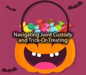 """A pumpkin bucket with the words, """"navigating joint custody and trick-or-treating."""""""