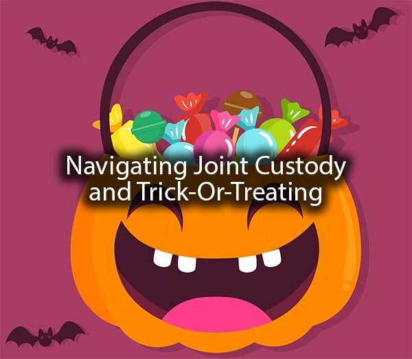 "A pumpkin bucket with the words, ""navigating joint custody and trick-or-treating."""
