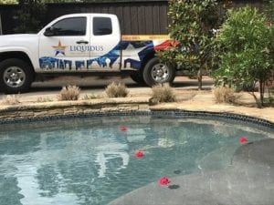 A Liquidus Pool Services truck parked beside a client's pool that needs weekly maintenance
