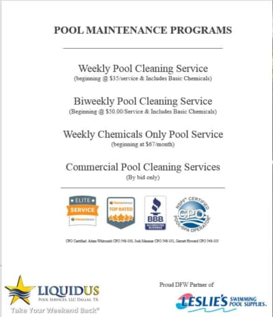 Weekly pool maintenance programs with pricing included