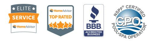 Mixed logos for HomeAdvisor, BBB, and NSPF Certified Pool Spa Operator