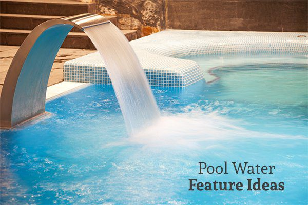 A rain curtain water feature flowing into a pool with the words pool water feature ideas
