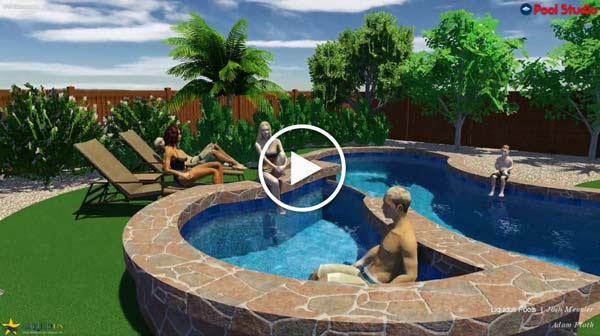 Video thumbnail of animated 3d rendering of a free form pool during the day