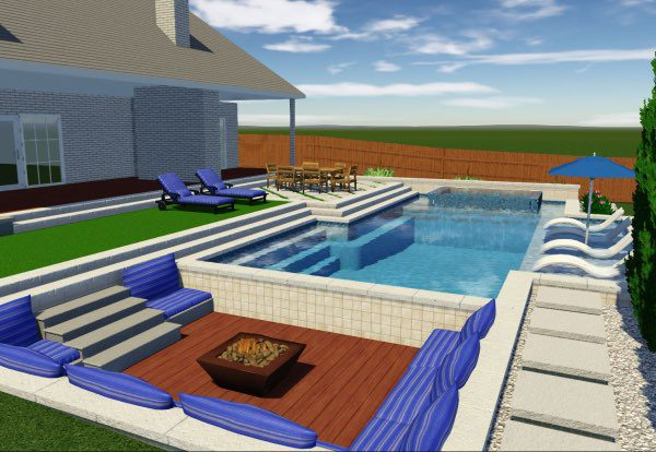 A 3D Design of a new pool and patio.