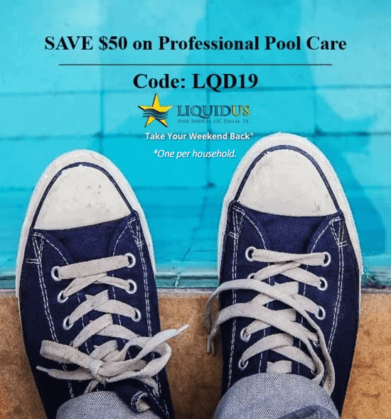 Looking down at a pair of shoes over the edge of a pool with professional pool care coupon code