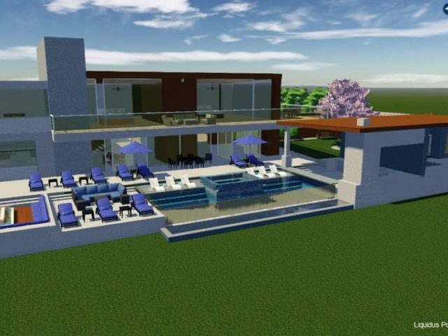 3D design of pool and pool house
