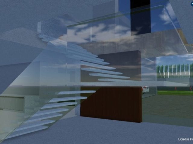 3D design of glass staircase