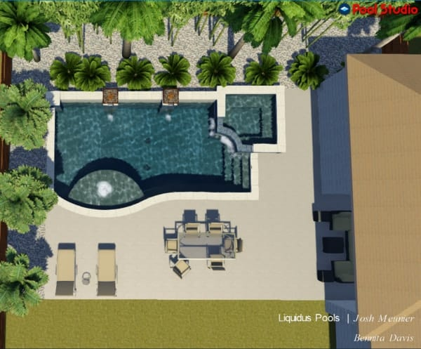 Aerial 3D design of a modern pool and spa