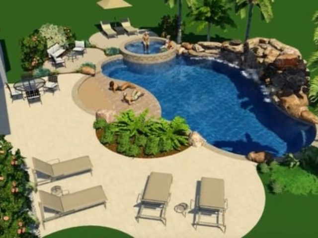 3D design of a pool with a rock waterfall and huge tanning deck and spa