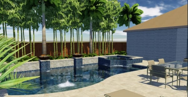Modern pool design with spa