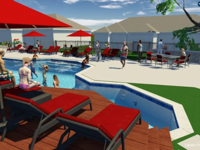 3D design for apartment complex pool and outdoor area
