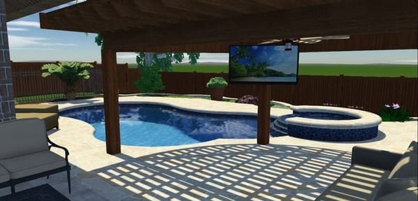 3D design of backyard with a free form pool and pergola