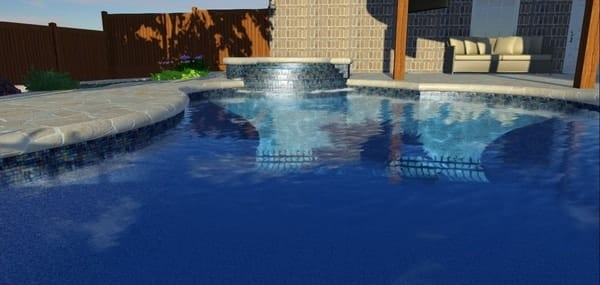 Up close of a 3D design of a pool and spa