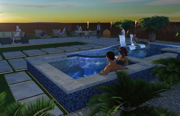 3D design of a backyard pool and seating area