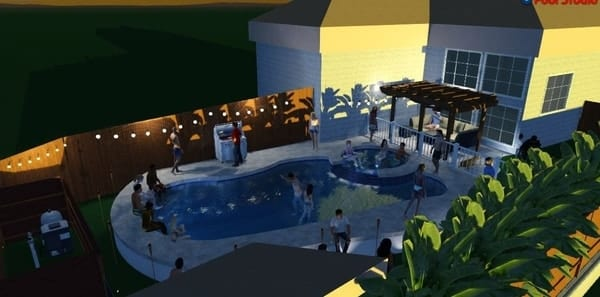 3D rendering of a pool party