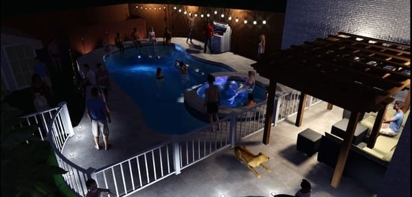 3D design of a pool and spa throwing a party