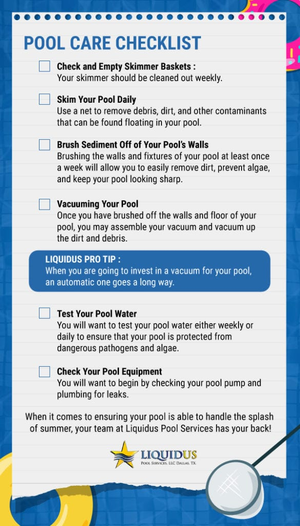 An infographic outlining p pool care maintenance.