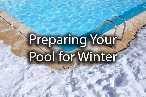 "A pool surrounded by snow with the words, ""preparing your pool for winter."""