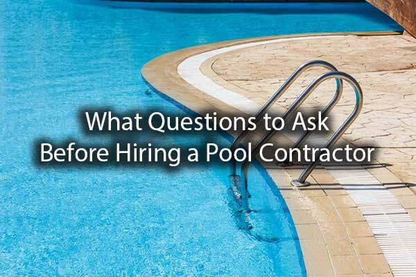 "A gorgeous pool with the words, ""what questions to ask before hiring a pool contractor."""