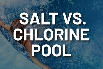 "A person enjoying a pool with the words, ""salt vs. chlorine pool."""