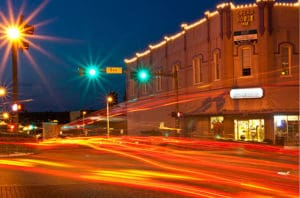 Denton TX light trails downtown