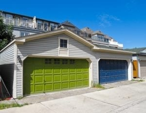 double garage doors painted green and blue