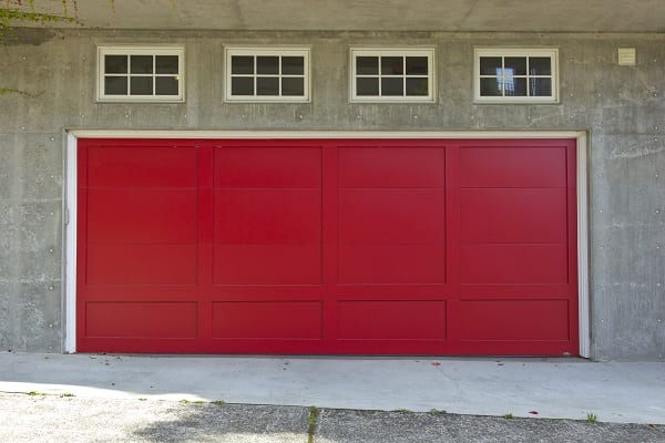A large red garage door.