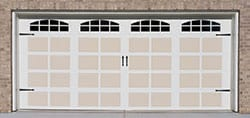 Residential house with single steel garage door installed, repaired, serviced, and maintained by Action Garage Doors of Missouri City Texas a suburb of Houston