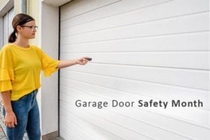 A woman opening her garage door with a remote.