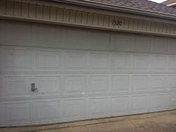 Action Garage Doors was assigned the repair and or replace of this faded broken residential garage door in Lewisville Texas and Adan Vega the technician