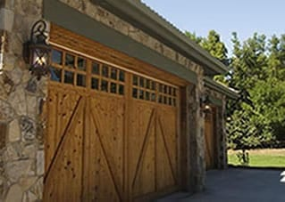 Custom wooden single car garage door