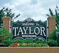 welcome to taylor tx sign