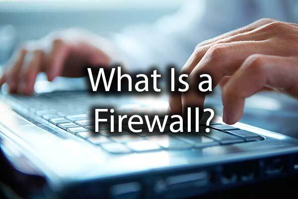 "An individual working on a computer with the words, ""What Is a Firewall?"""
