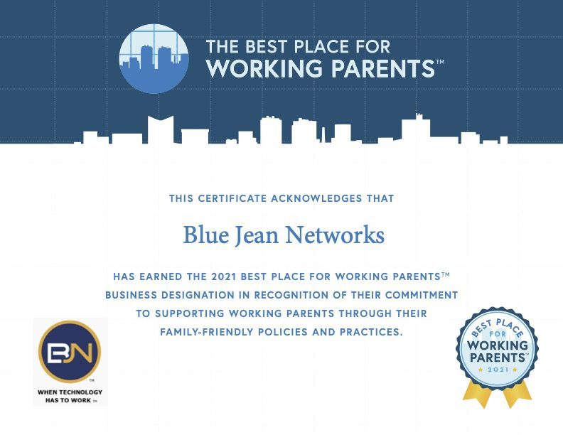 A certificate for the Best Place for Working Parents 2021 Award