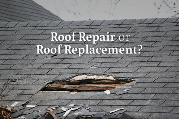 """A roof with a large hole and other damage beneath the words """"Roof Repair or Roof Replacement?"""""""