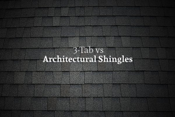 "A roof with architectural asphalt shingles with the words ""3-Tab vs Architectural Shingles"""