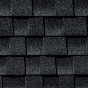 Close up photo of GAF's Timberline Ultra HD Charcoal shingle swatch