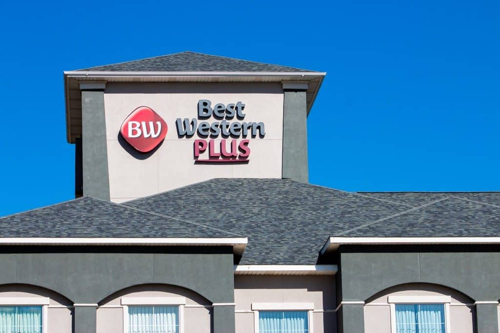 close up of best western hotel