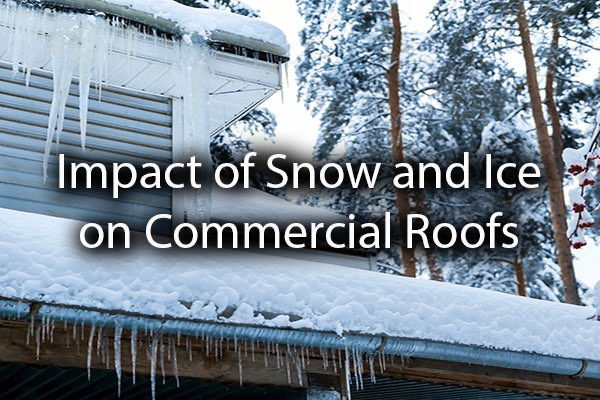 A commercial Roof with snow on it with the words, impact of snow and ice on commercial roofs.