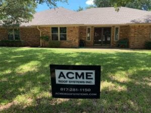 Street View Of An Acme Roof Yard Sign In Front Of A Home With A New Roof