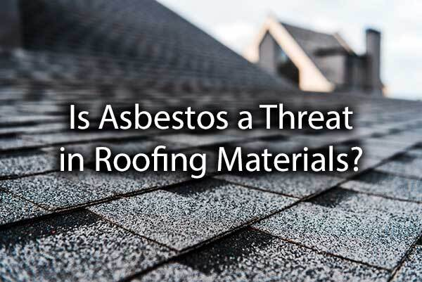 "A shingled roof with the words, ""is asbestos a threat in roofing materials?"""