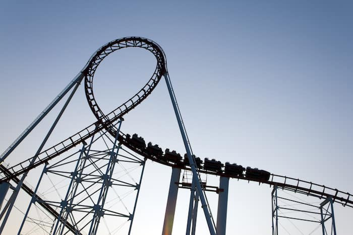 A Roller coaster passes through a loop at Six-Flags