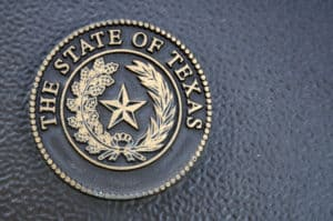 A close up of the great seal of the State of Texas